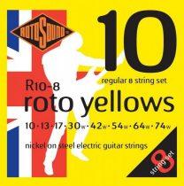 Rotosound Nikkel 8 húros elektromos gitár húrkészlet, 10 13 17 30 42 54 64 74