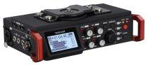 Tascam DR-701D, 6 csatornás rögzítő DSLR kamerákhoz, SD/SDHC/SDXC, 44.1/48/96 kHz, 16/24-bit, PCM (WAV formátum),BWF, 2 beépített mikrofon, 4 db XLR bemenet, SMPTE, HDMI in/out