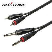 Roxtone 2 x RCA papa - 2 x 6,3mm mono jack papa készkábel, 3m
