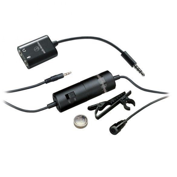 Audio-Technica ATR3350XIS, Miniatűr gallérmikrofon okostelefonhoz, gombelem táplálással, mini jack csatlakozással, 3m kábellel