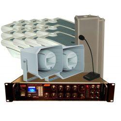 100V-os hangosító szett max. 20 helyiség 1 nagy terem vagy kültér hangosítására