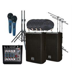 Hordozható hangosító szett,  beépített keverővel, mikrofonokkal, kábelekkel, állványokkal