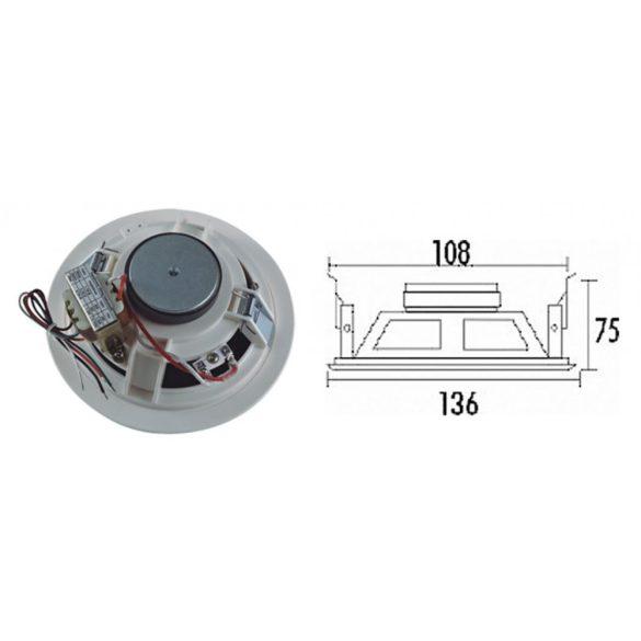 """ITC T106A 6"""" álmennyezeti hangszóró 3W-6W-9W/100V fém keret és rács"""