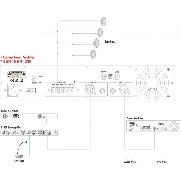 ITC T1S120 Végerősítő egy csatorna 120W/100V/70V/4ohm, transzformátoros leválasztás