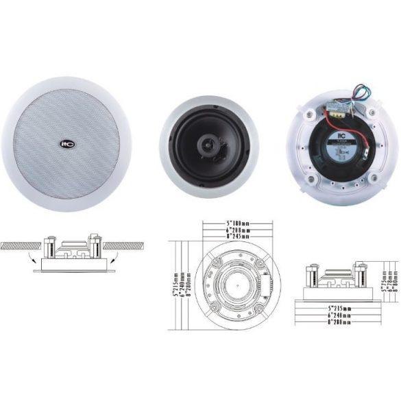 """ITC T206A 6""""+1,5"""" álmennyezeti hangszóró 1.25W, 2.5W, 5W, 10W/100V fém rács, ABS keret"""