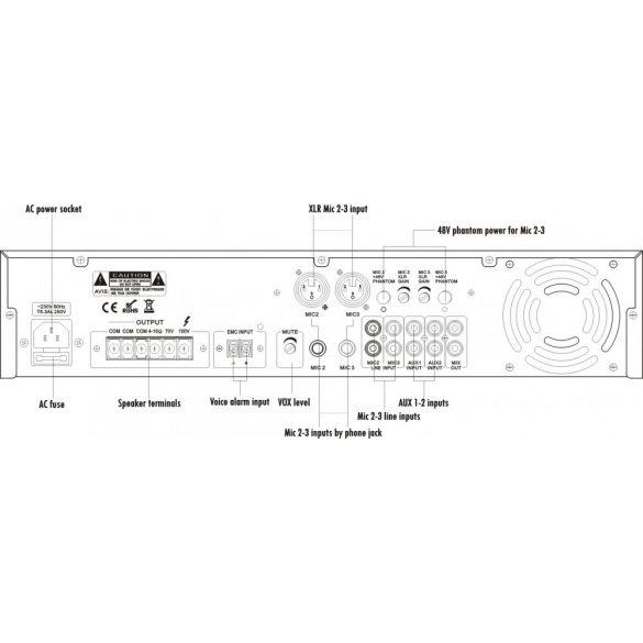 ITC T240B Keverőerősítő 3 mic 2 aux, 100V/70V/4ohm 240W, szimmetrikus mikrofonbemenet