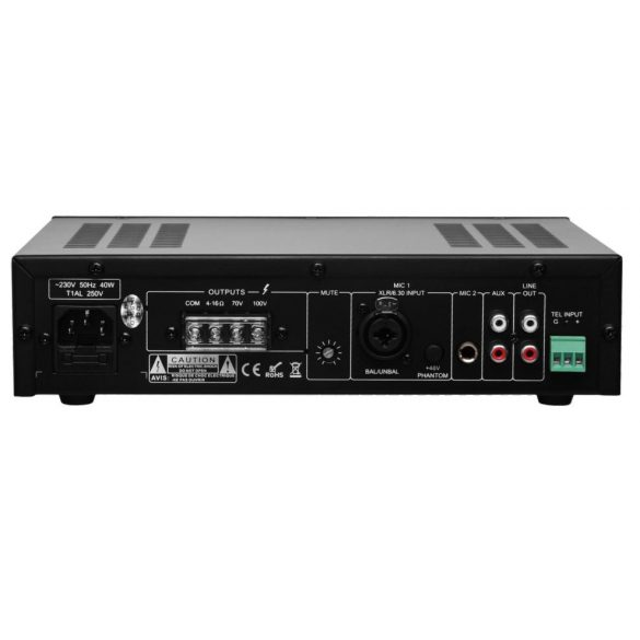 ITC T40AP asztali kisméretű keverőerősítő 2 mic 1 aux, 100V/70V/4ohm, szimmetrikus bemenet fantom táp 40W
