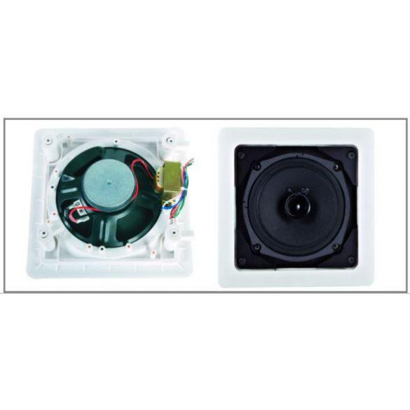 """ITC T552 5"""" szélessávú álmennyezeti hangszóró 0.75-1.5-3-6W négyzetes ABS keret"""
