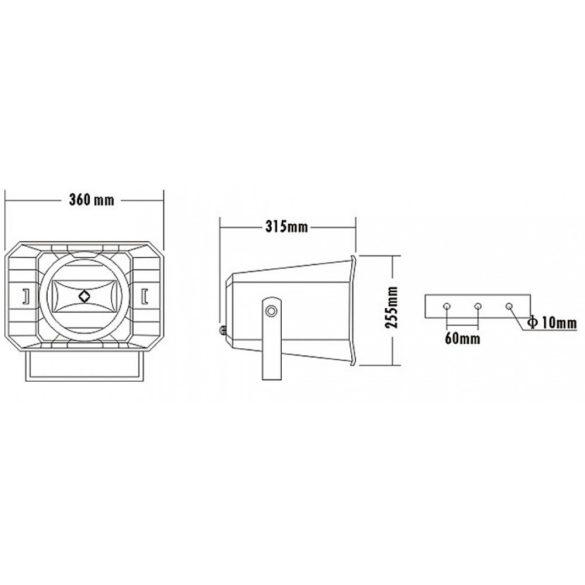 ITC T710K Kétutas kültéri hangtölcsér, 12.5W-25W-50W/100V, 5″+3″, IP66, ABS ház, Fém konzol