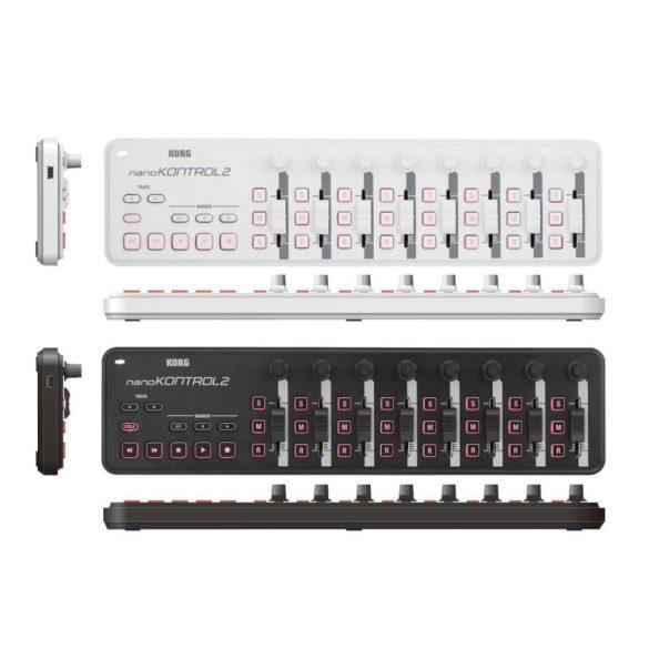 Korg nanoKONTROL2 Slim USB-MIDI vezérlő, 8 potméter, 8 fader, 24 gomb, fekete vagy fehér színben