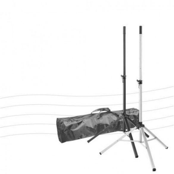 König & Meyer KM-R37175 – Alumínium hangfalállvány csomag, 2 db – hordtáskában, fekete
