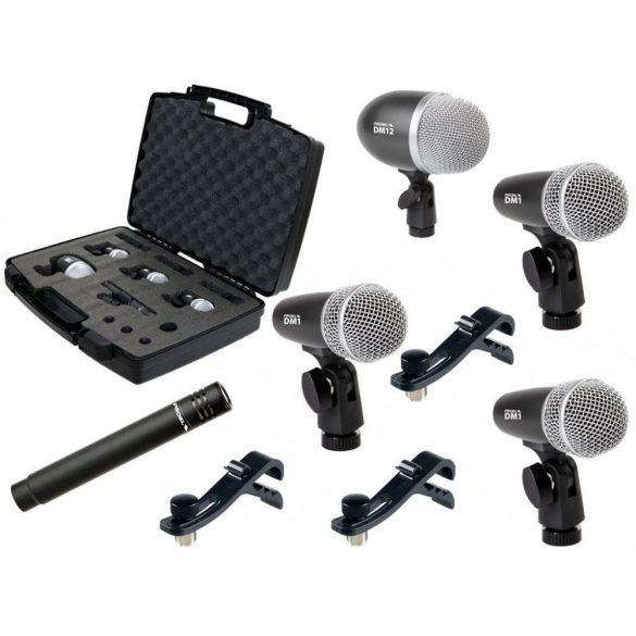PROEL DMH5XL, Dobmikrofon szett, öt darabos, mikrofon tartóval
