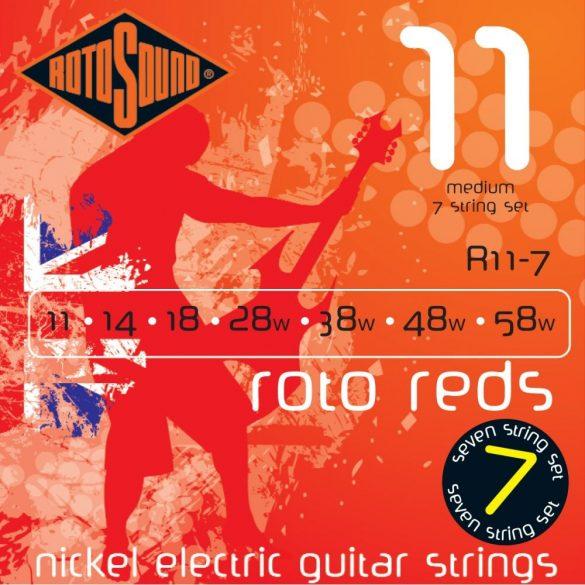 RotoSound Nickel 7 húros elektromos gitár húrkészlet, medium, 11 14 18 28 38 48 58