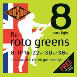 Rotosound R8 nikkel elektromos gitár húrkészlet, extra könnyű, 8 11 14 22 30 38