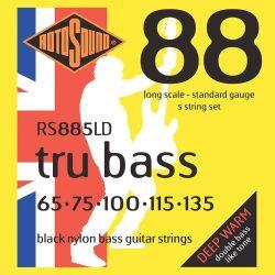 Rotosound RS885LD Basszusgitár húrkészlet, fekete nylon, köszörült, 5 húr, 65-135