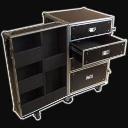 Robust DR-004 4 fiók+ajtóban 5 fakk kábeles rack konténer kerekes