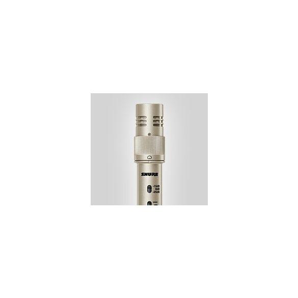 Shure KSM141/SL kardioid/gömb stúdió kondenzátormikrofon (szin:pezsgő), mikrofontartó, szélzsák, táska