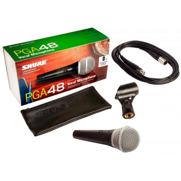 Shure PGA48QTR Dinamikus vokál mikrofon kapcsolóval, XLR-Jack kábellel