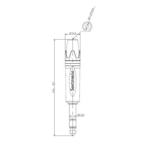 Seetronic SP3X-B Sztereo 6,3 jack dugó (fekete)