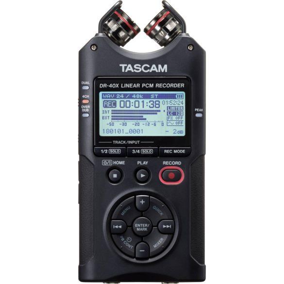 Tascam DR-40X, Hordozható, 4 csatornás sztereó rögzítő és USB-interfész, AB/XY mikrofonnal, memóriakártya nélkül