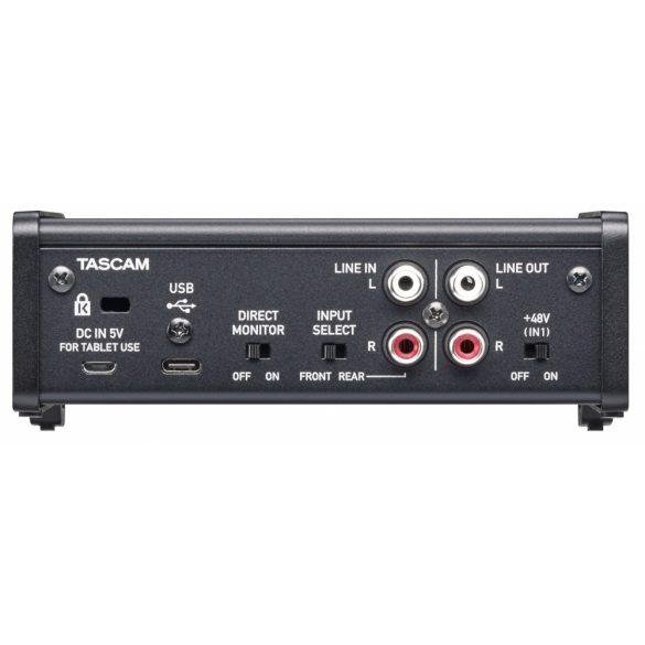 Tascam US-1x2HR Ultra-HDDA mikrofon előfok + 1 JACK bemenet, 192kHz/24-bit, iOS kompatibilitás